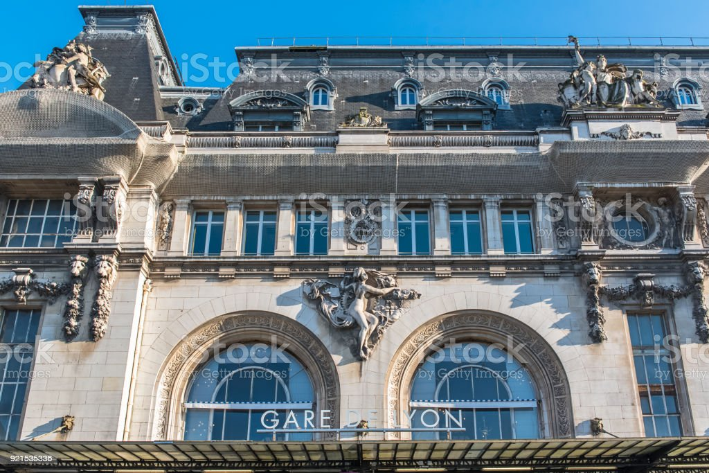 Paris, gare de Lyon Paris, gare de Lyon, railway station, facade and clock Architectural Column Stock Photo