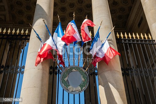 Colorful French flags blowing in the wind