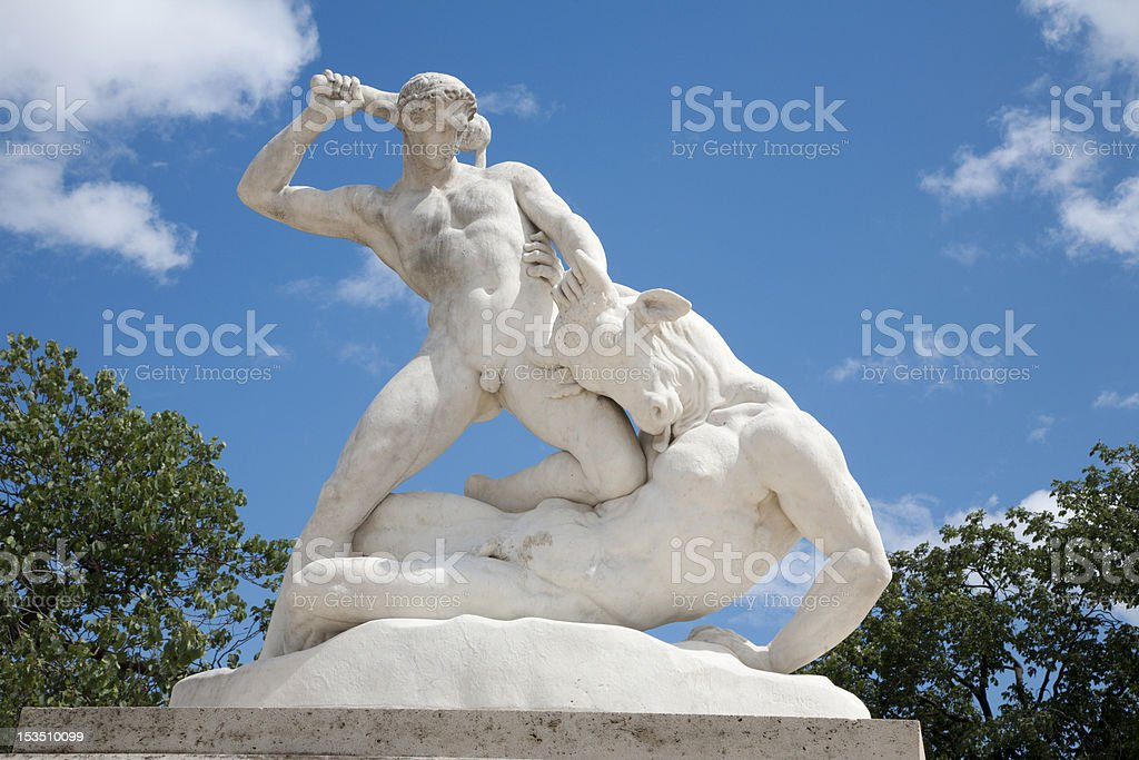 Paris - Hercules and Mintaurus statue in Tuileries garden stock photo