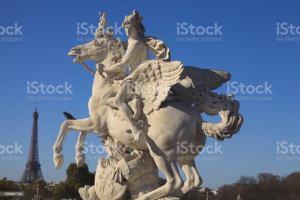 Paris - Hermes with Pegasus Statue Tuileries stock photo