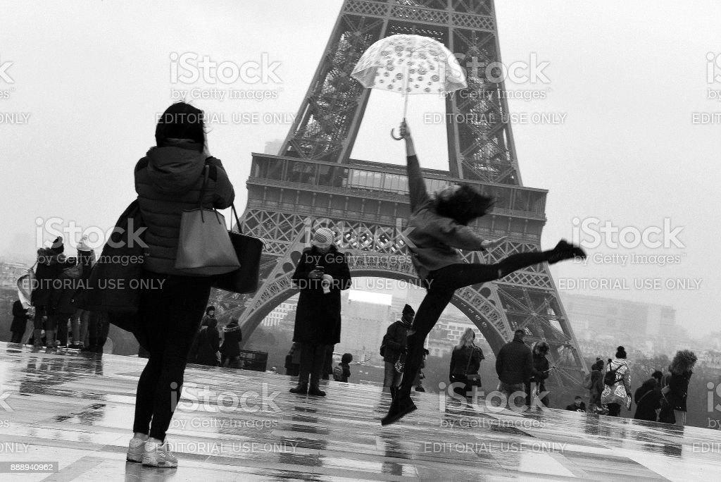 Paris in the Rain stock photo