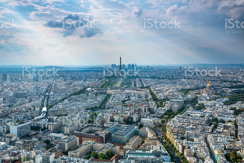 Paris Intersection Aerial View stock photo
