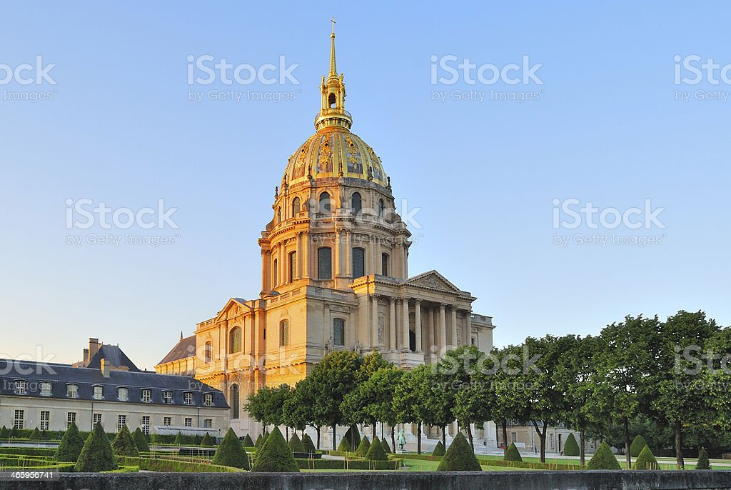 Paris. Invalides Cathedral at sunset stock photo