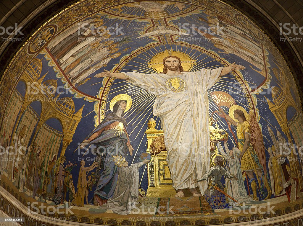 Paris - Jesus Christ from apsis of Sacre couer basilica stock photo