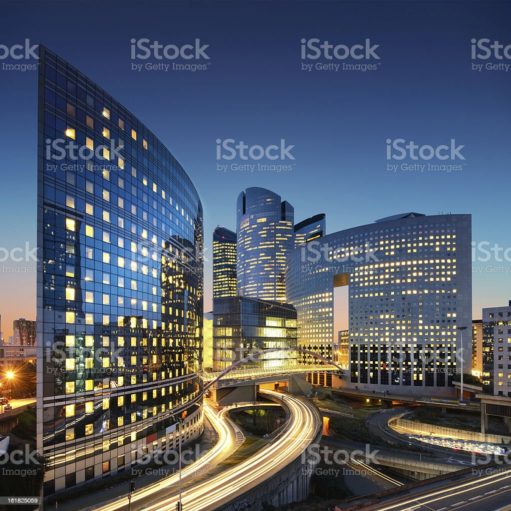 Paris La Defense office buildings stock photo