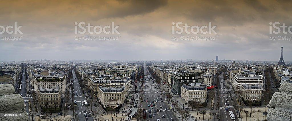 Paris landmark panorama stock photo