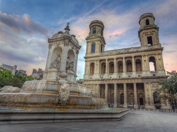 Paris, Late afternoon at The Church of Saint-Sulpice. stock photo