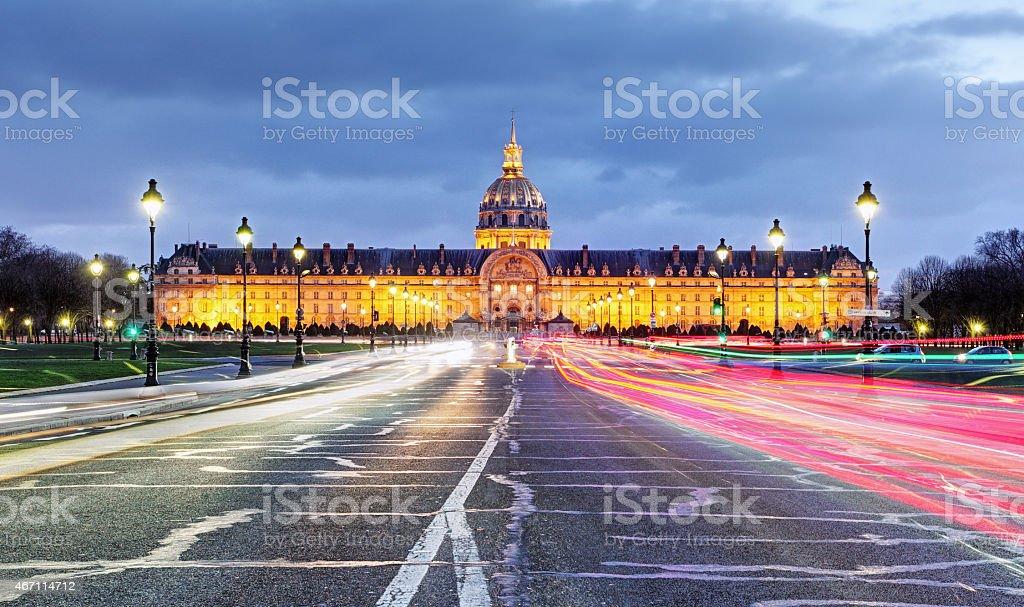 Paris - Les Invalides at night stock photo