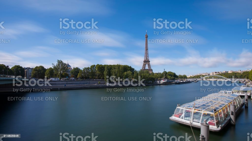 Paris Long Exposure with Seinne River and Eiffel Tower View stock photo