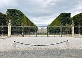Paris : Luxembourg garden entrance, rue Auguste Comte, near Port Royal quarter. Paris, France. August 1, 2020