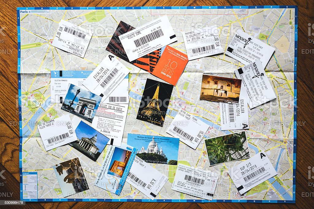 Paris Map With Tickets From Paris Stock Photo More Pictures Of - Paris map 2016