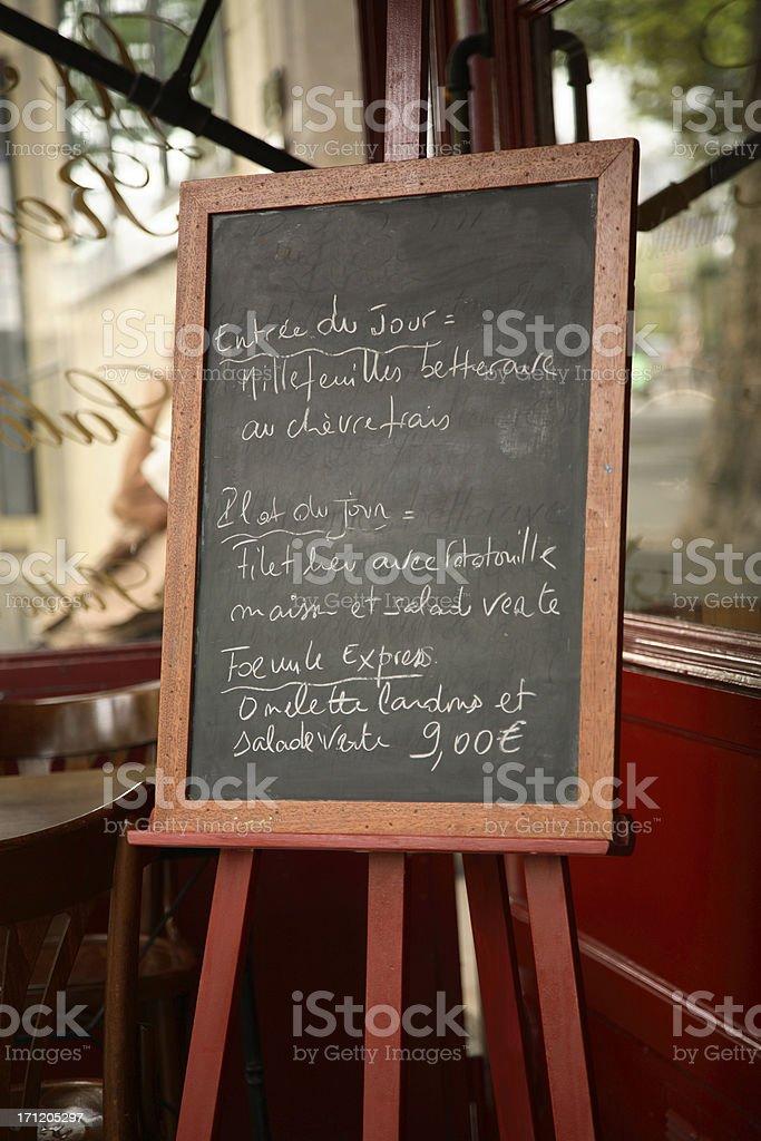 Paris: Menu Board royalty-free stock photo