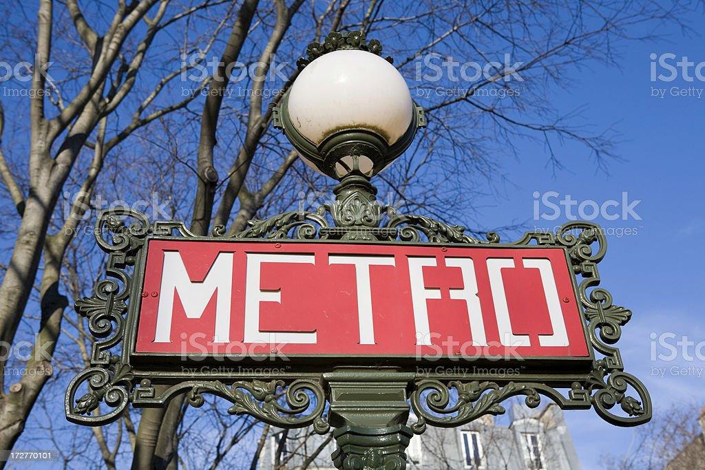 Paris metro sign and blue sky royalty-free stock photo