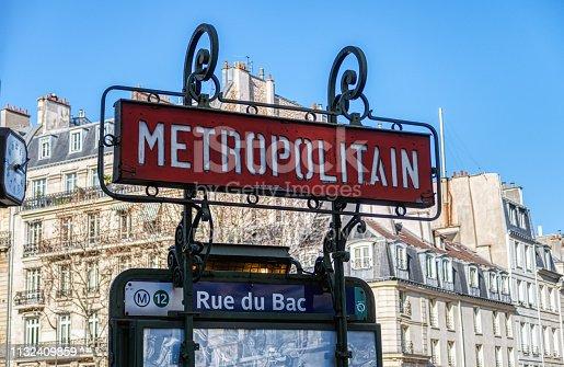 Paris, France - February 25 2019: Metro sign