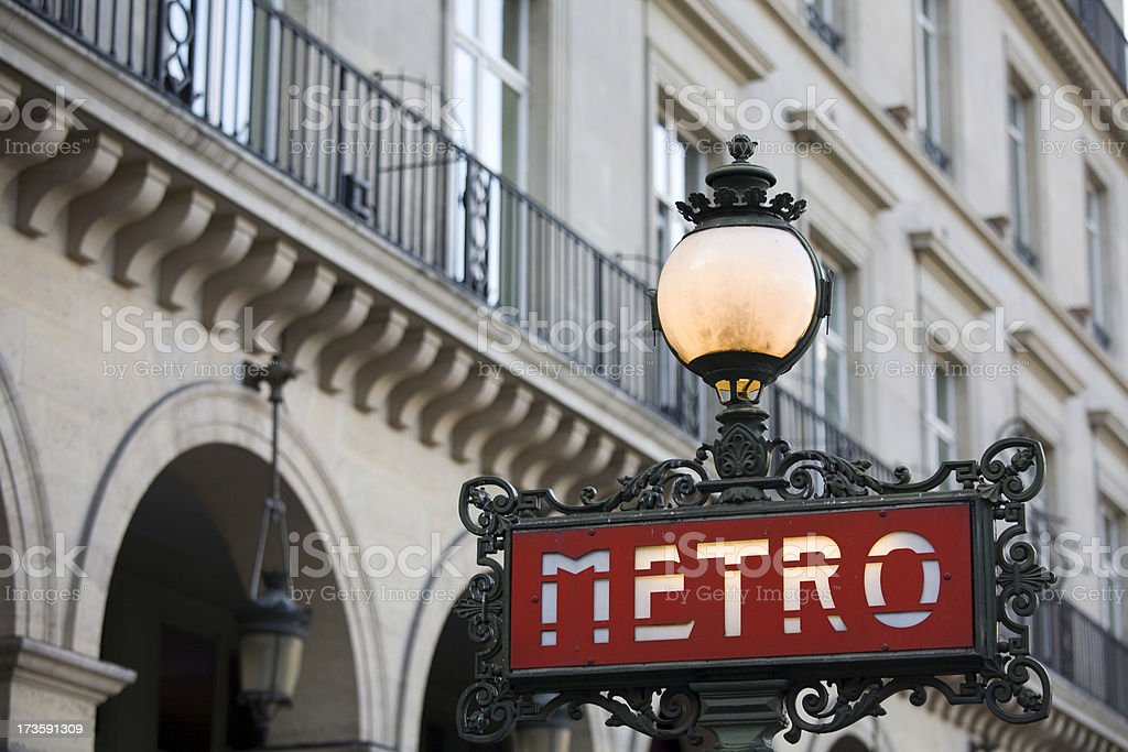 Paris Metro Sign, France stock photo