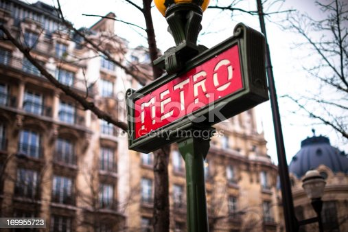 Old-fashioned sign for the Paris Metro