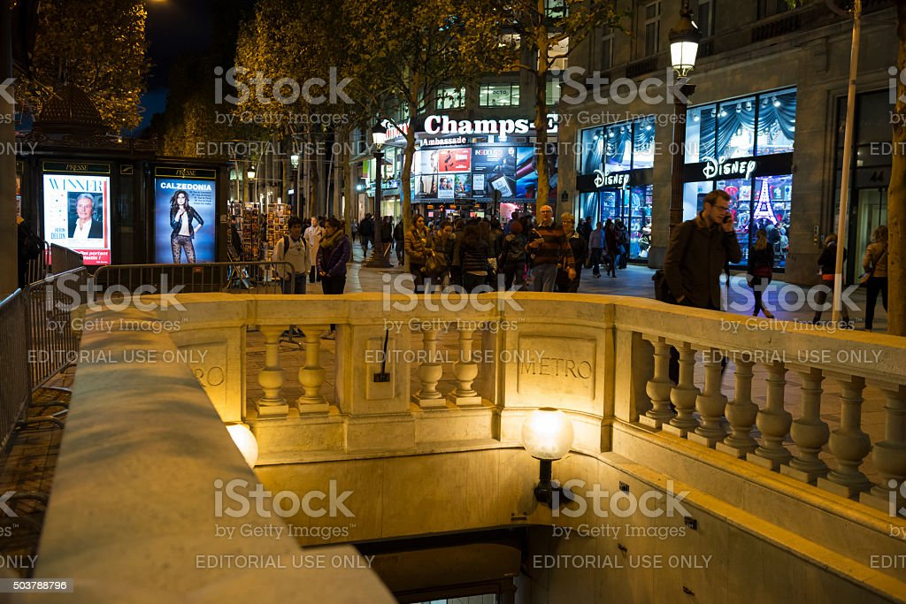 Paris Metro station on Champs-Elysees stock photo