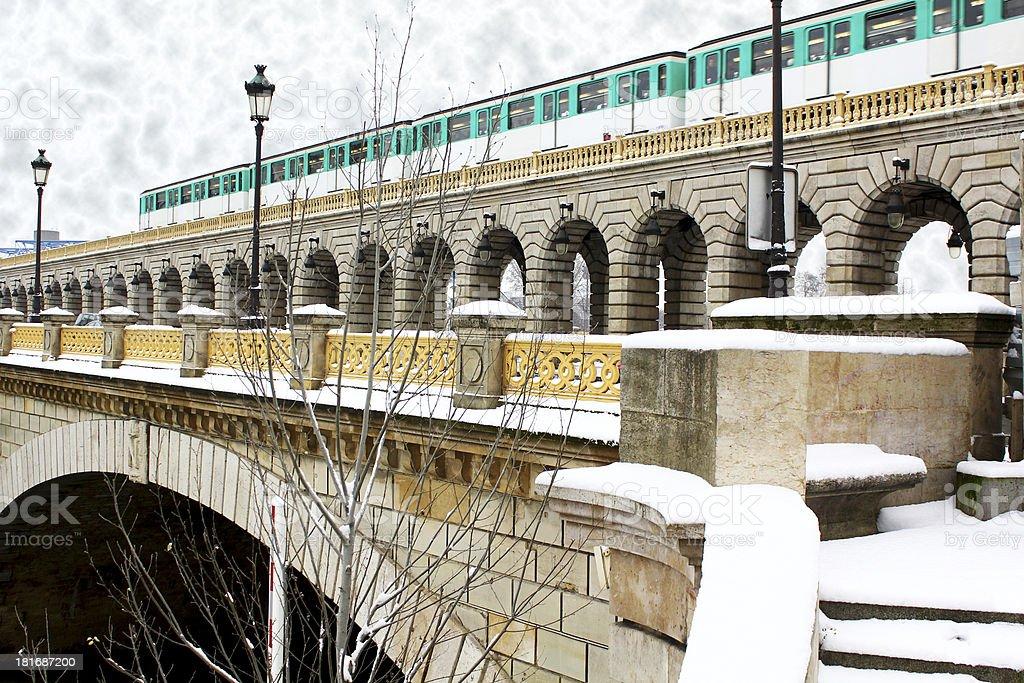 Paris metro train on the bridge royalty-free stock photo