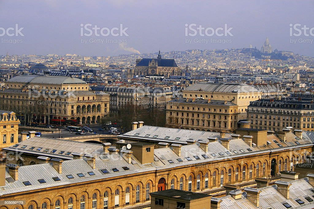 Paris Montmartre and Sacre Coeur from above Notre Dame, France stock photo