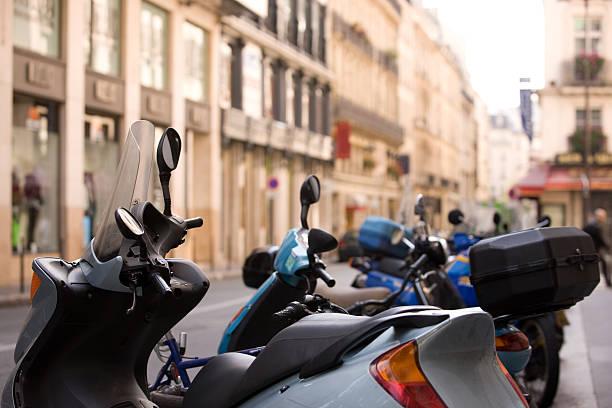 Paris Mopeds stock photo