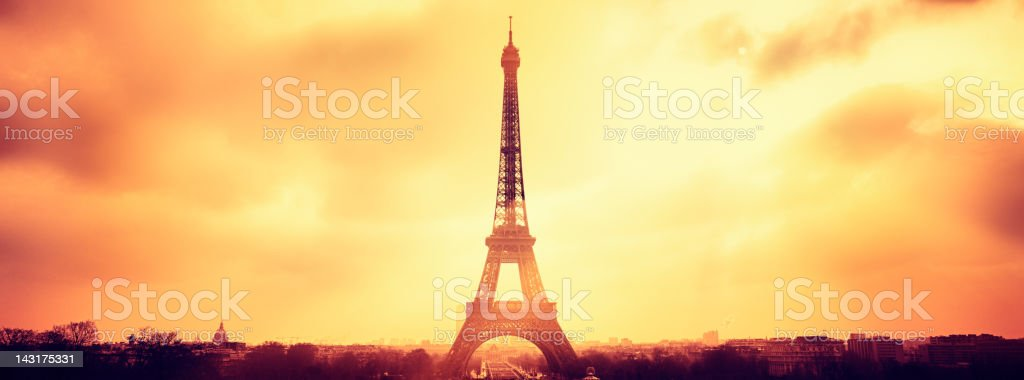 Paris panorama and silhouette of Tour Eiffel view against sun royalty-free stock photo