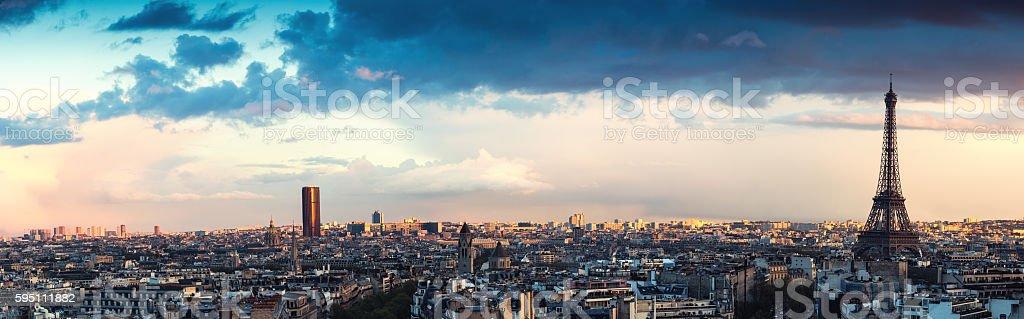 Paris Panorama From Arc De Triomphe stock photo