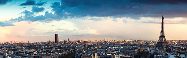 Paris Panorama From Arc De Triomphe Paris panorama with Eiffel Tower at sunset (Paris, France). ile de france stock pictures, royalty-free photos & images