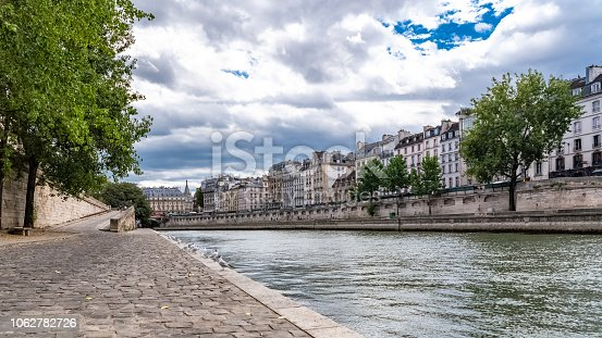 Paris, panorama of the quai de Conti, typical view of the quays