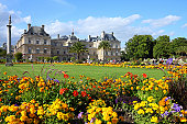 Paris, France - famous landmark, Luxembourg Palace and park. UNESCO World Heritage Site.