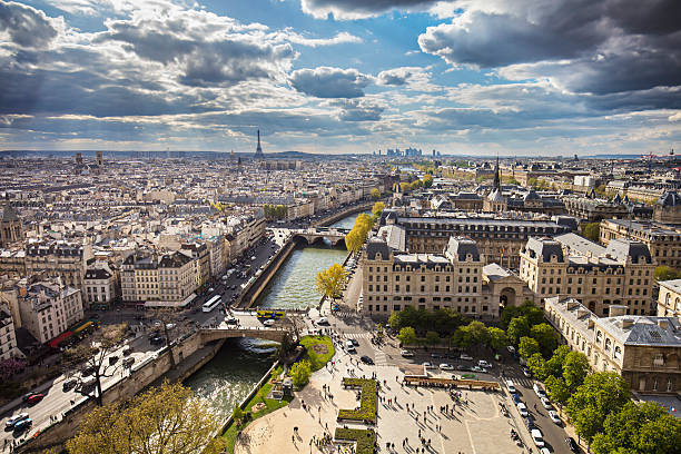 Paris Sunny spring  panorama day in Paris. ile de france stock pictures, royalty-free photos & images