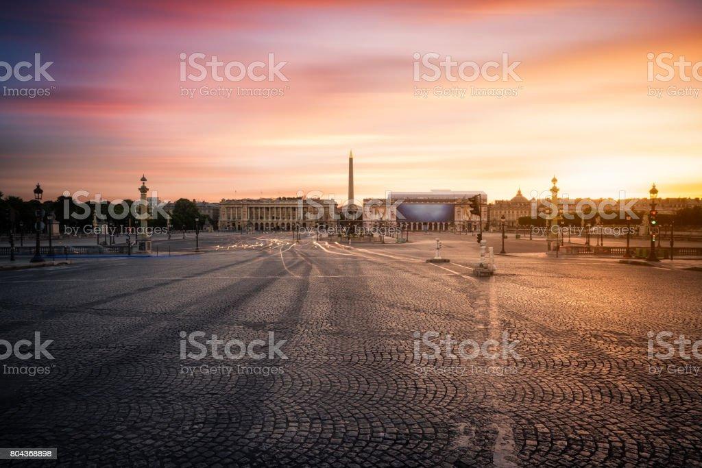 Paris, Place de la Concorde at sunrise stock photo