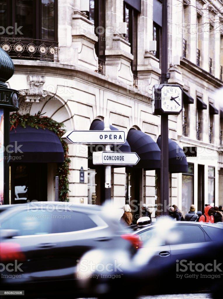 Paris, Place Madeleine Rush Hour Trafic stock photo