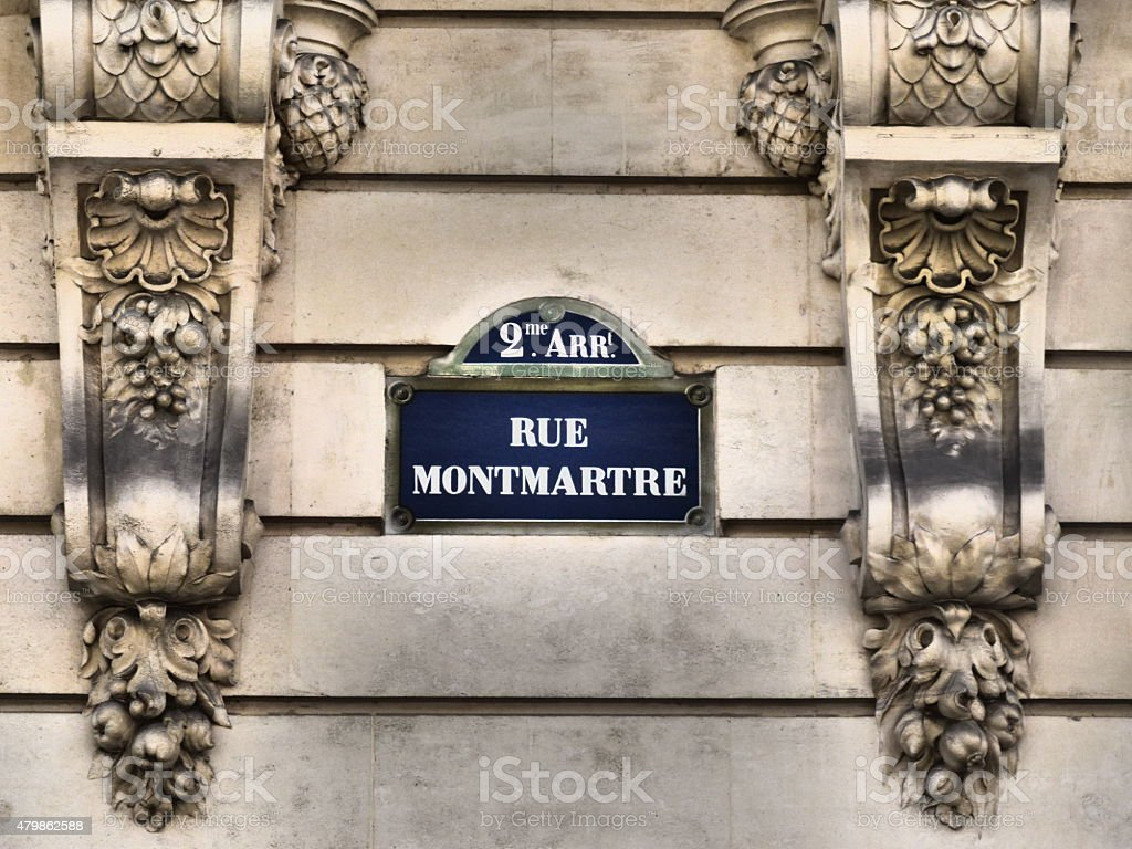 Paris Plaque de Rue -  rue Montmartre old street sign stock photo