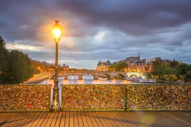 Paris - Pont des Arts first light stock photo