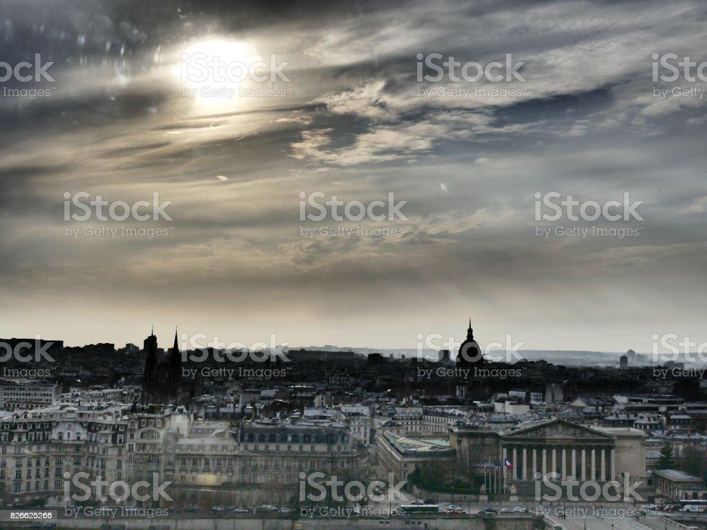 Paris rive gauche in winter stock photo