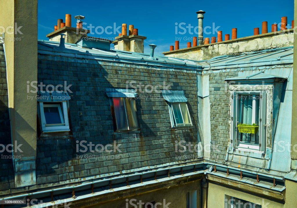 Paris roof tops stock photo