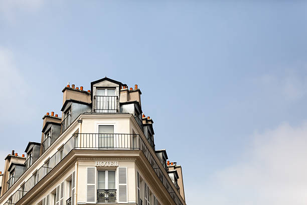 paris roofline against a blue sky - carolinemaryan stock pictures, royalty-free photos & images