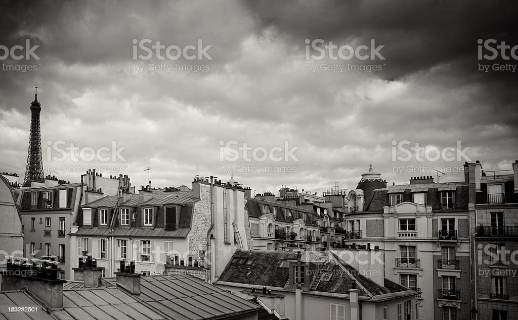 Paris roofs with Eiffel tower in black and white stock photo