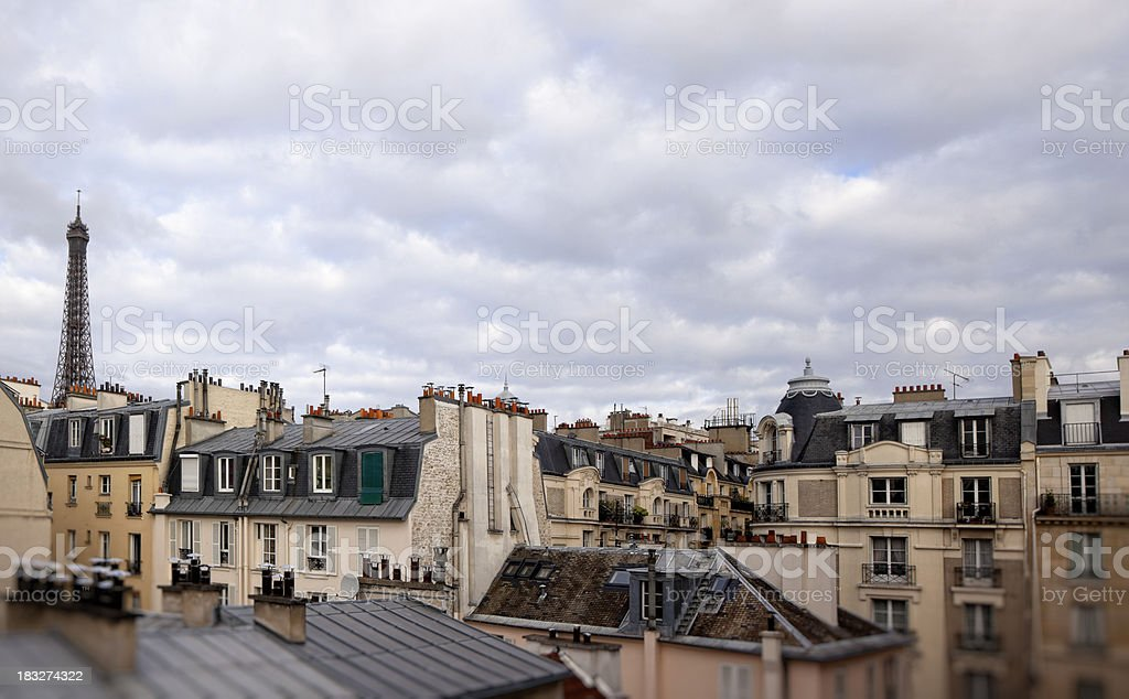 Paris roofs with Eiffel tower stock photo