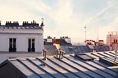 Paris rooftops in the evening with Eiffel Tower