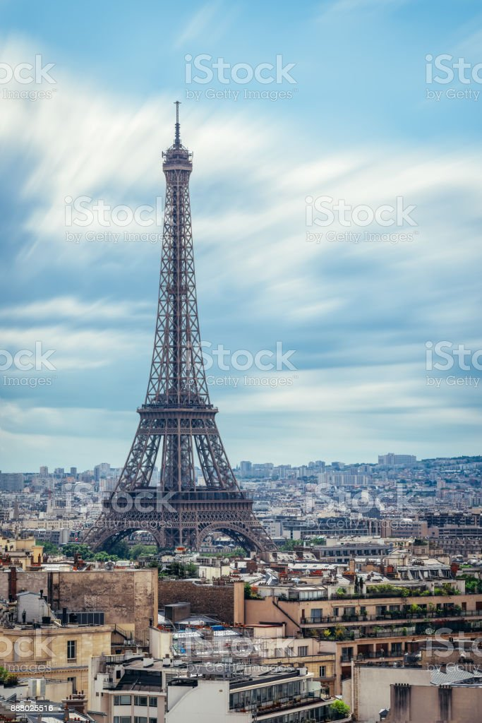 Paris rooftops. Eiffel Tower, Paris, France stock photo
