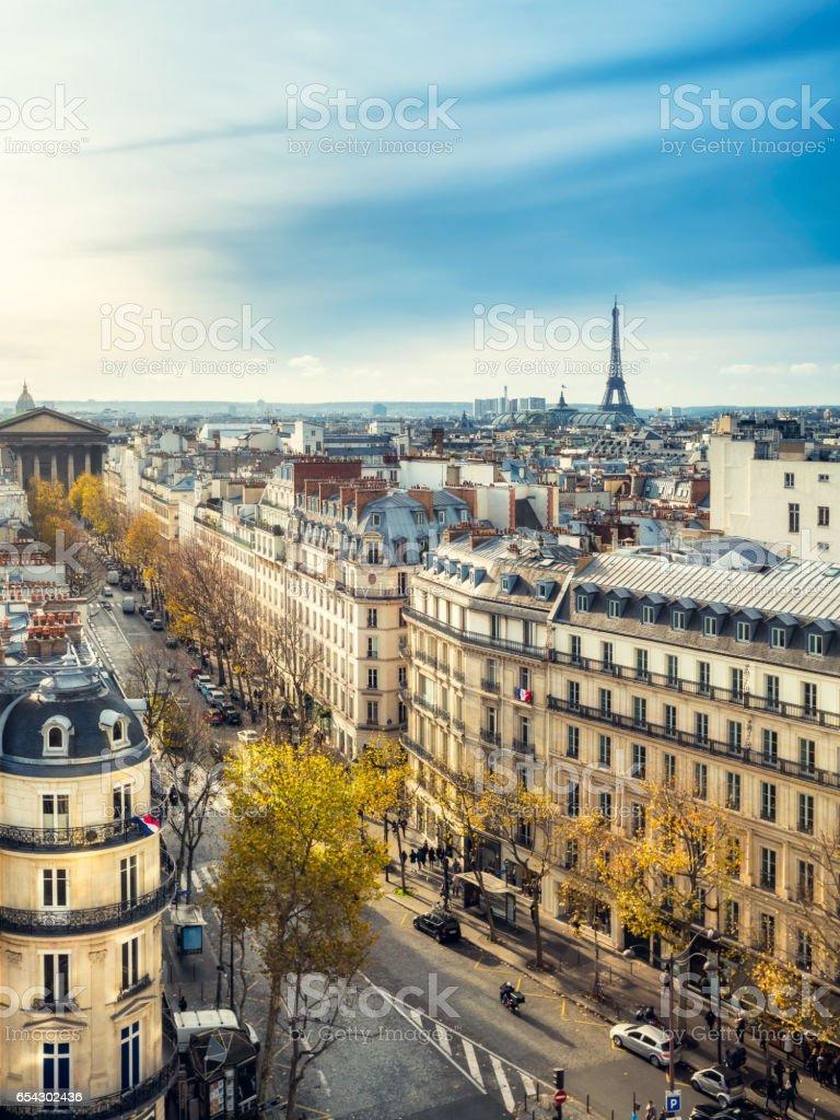 Paris rooftops. La Madeleine and Eiffel Tower, Paris, France stock photo