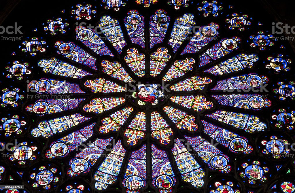Paris - rosette in st.Denis cathedral stock photo