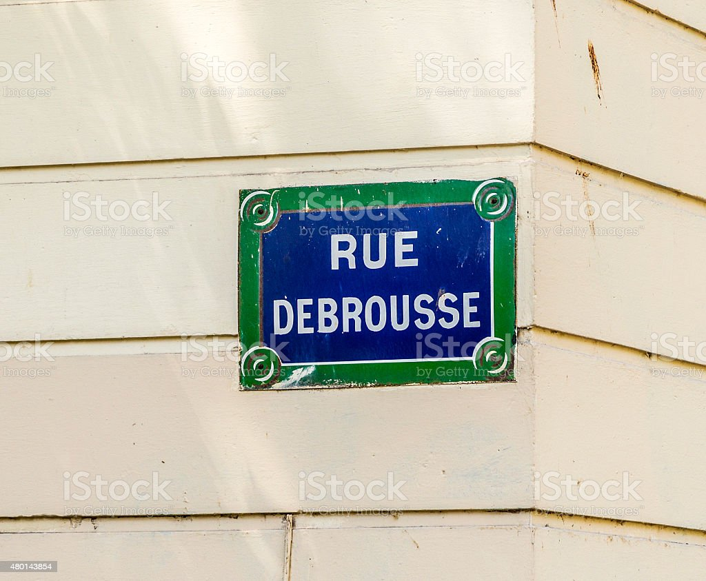 Paris, Rue Debrousse old street sign stock photo