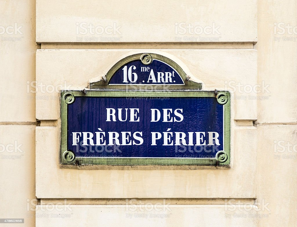 Paris, rue des freres perier old street sign stock photo