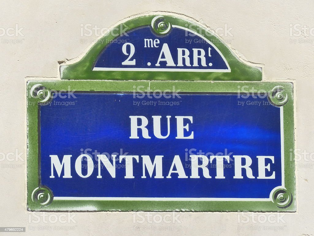 Paris  rue Montmartre old street sign stock photo