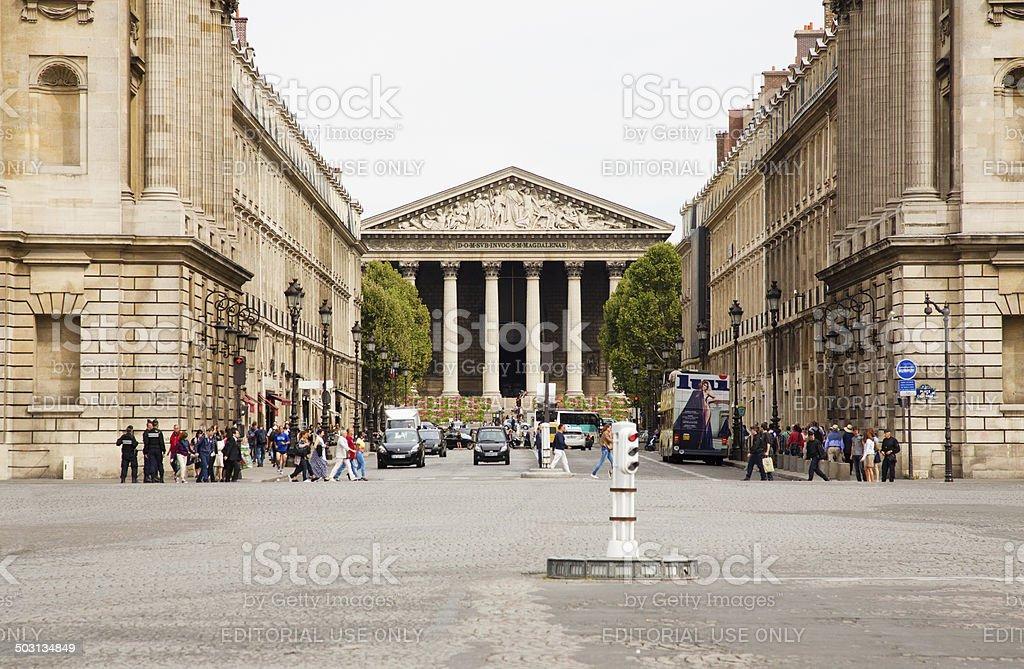 Paris Rue Royale et Eglise de la Madeleine stock photo