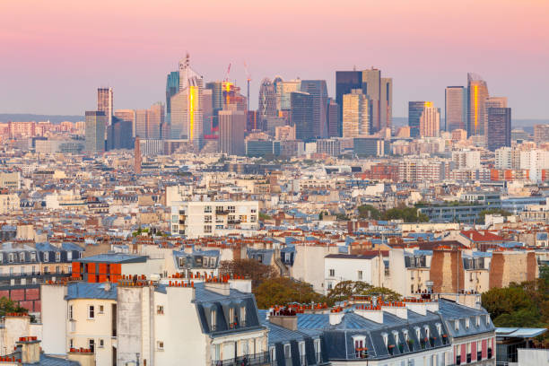 Paris. Scenic aerial view of the city in the early morning. stock photo