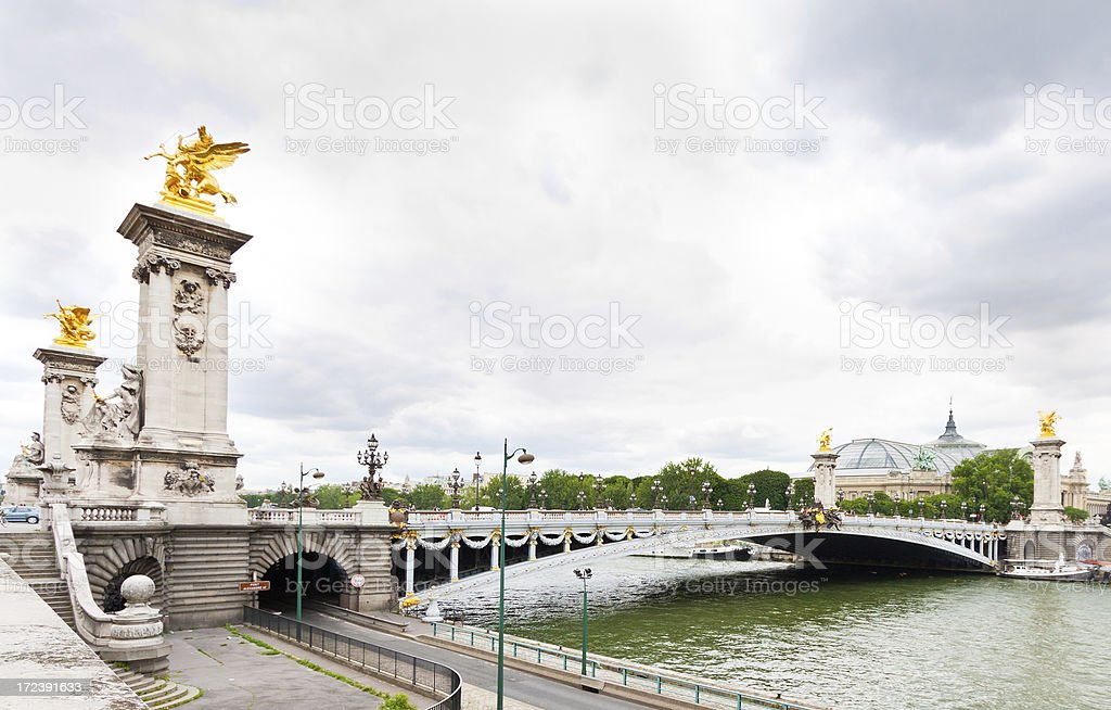Paris, Seine river and Pont Alexandre III. royalty-free stock photo