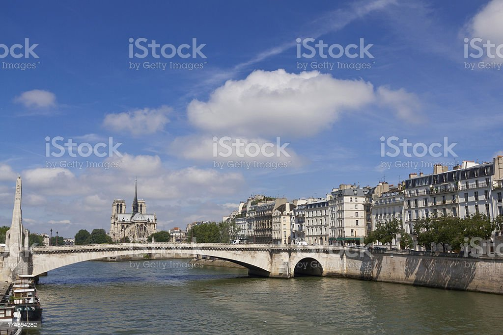 Paris, Seine river with Notre Dame in background. stock photo